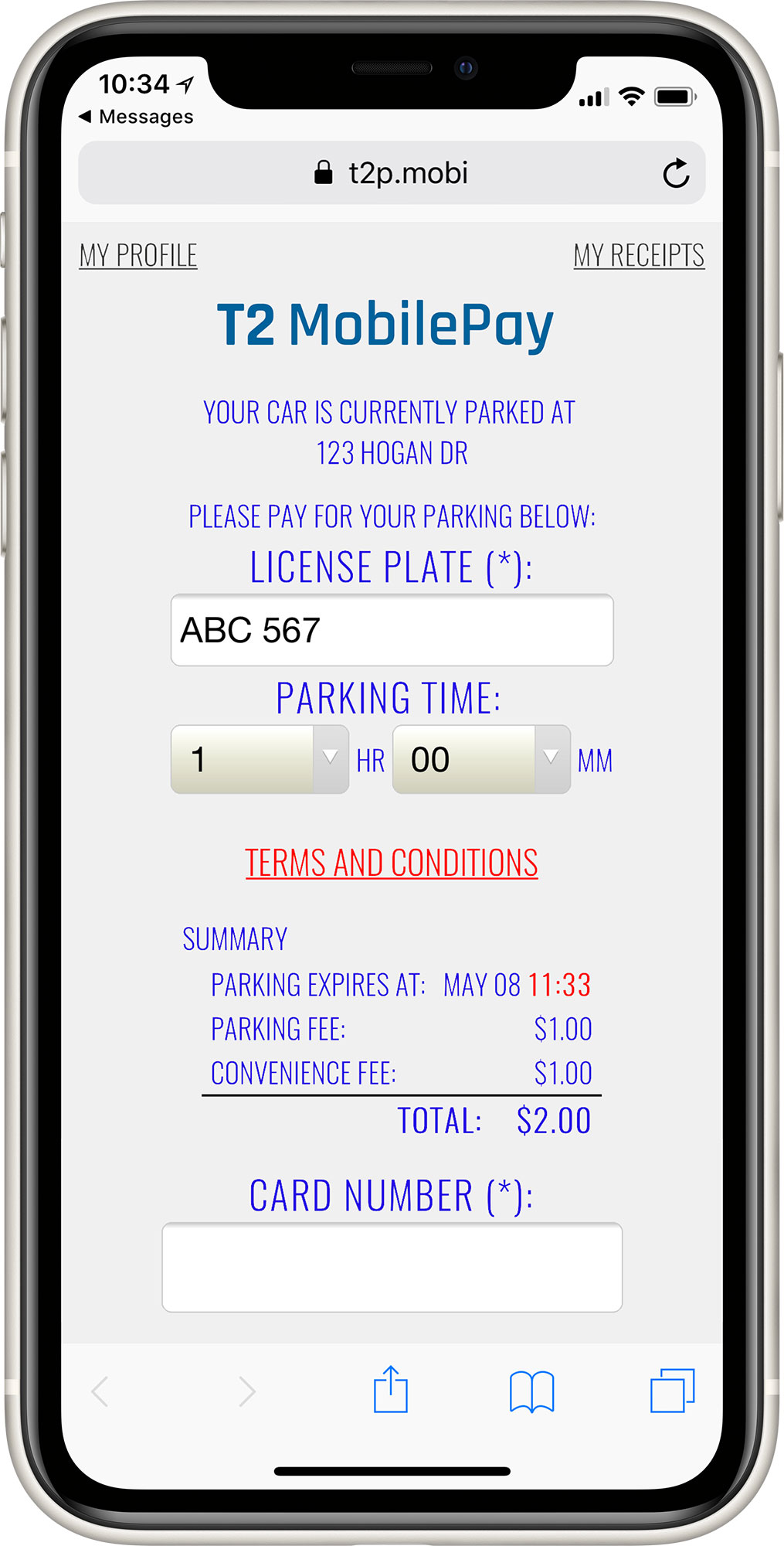 T2 MobilePay Powered by TEXT2PARK Payment Screen