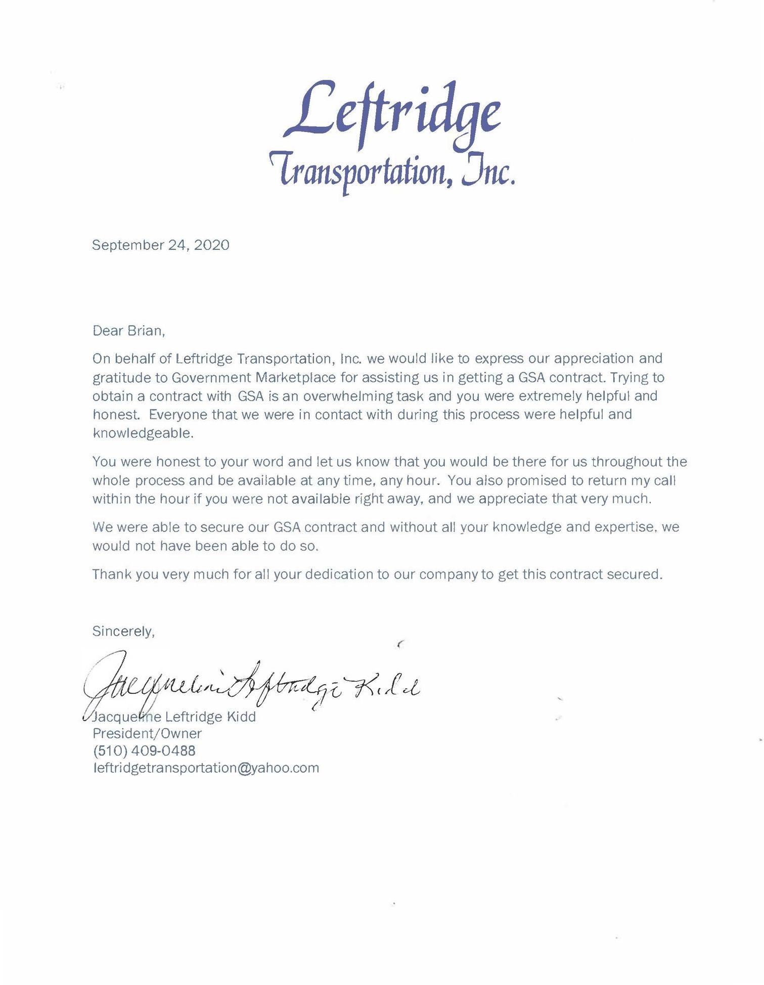 Leftridge Transportation, Inc.
