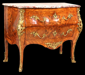 French Louis XV marbletop marquetry inlaid commode