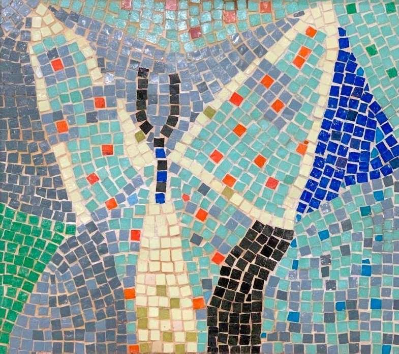 Mosaic tabletop tile by Roy Lichtenstein (1950).