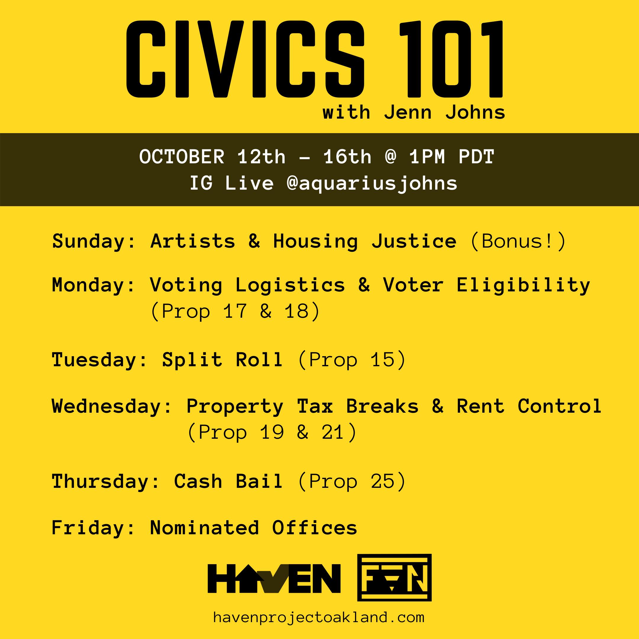 Civics 101 Schedule
