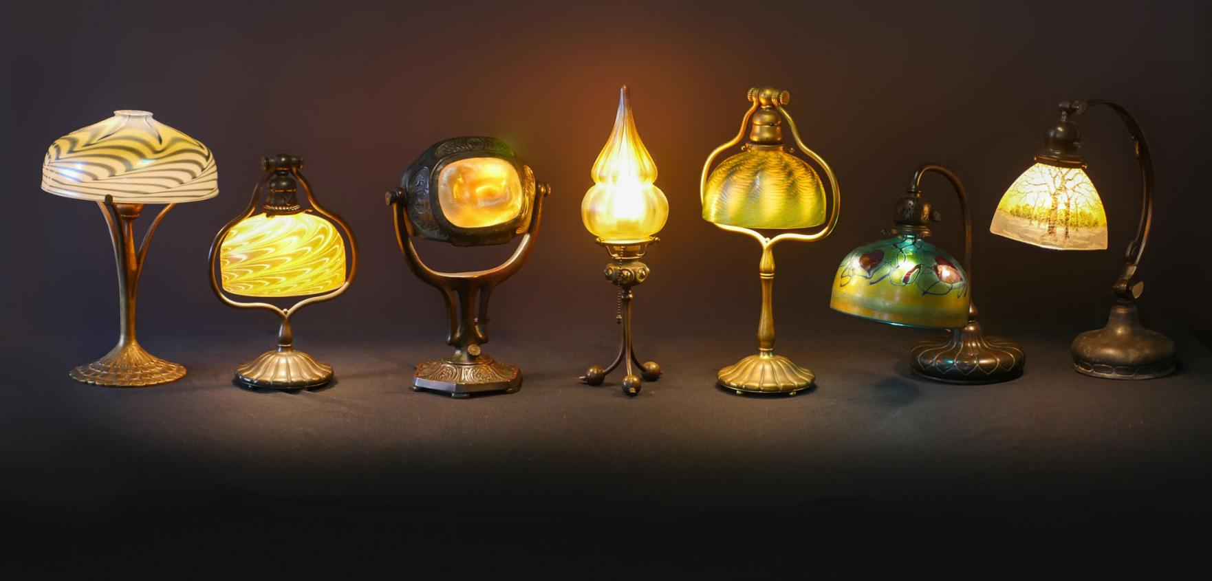 Art glass lamps will include examples by Tiffany.