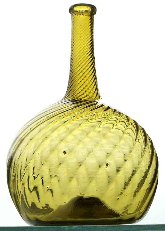 Pattern globular bottle by Zanesville Glass Works.