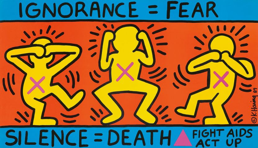 Keith Haring, Act Up / Ignorance = Fear (1989).