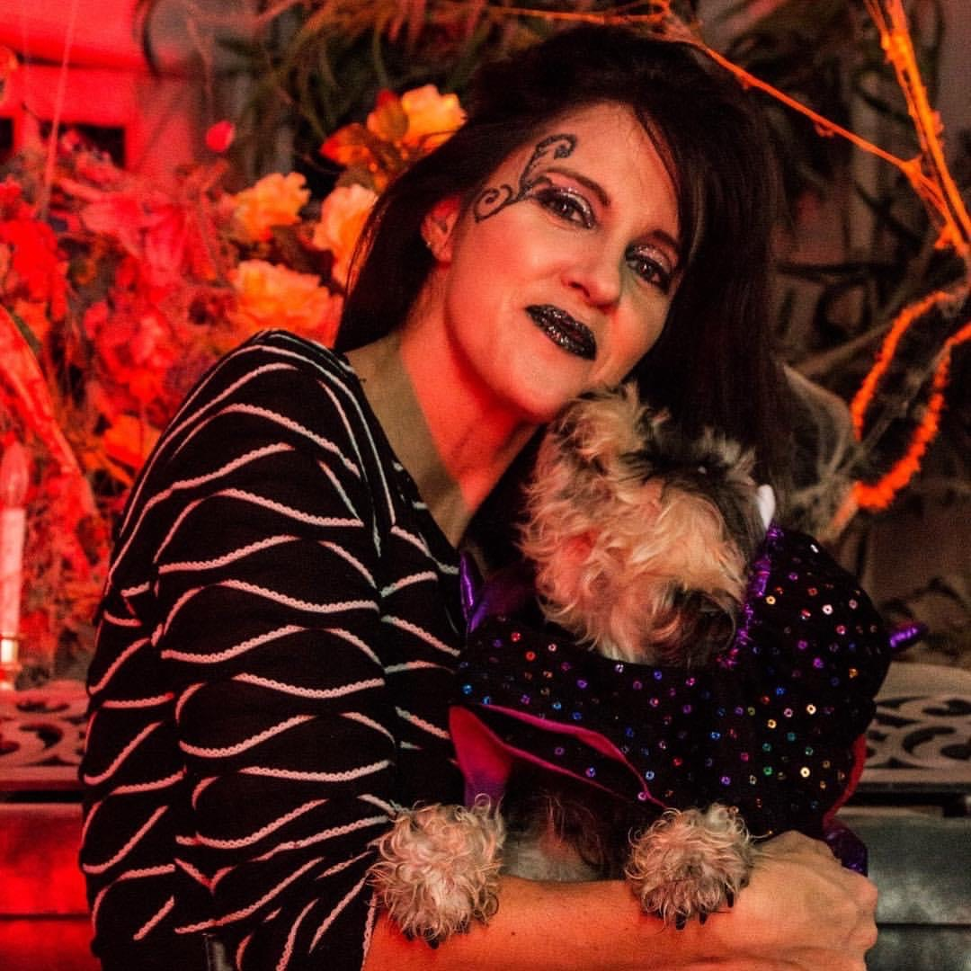 Queen of Haunts and SPCA dog for adoption