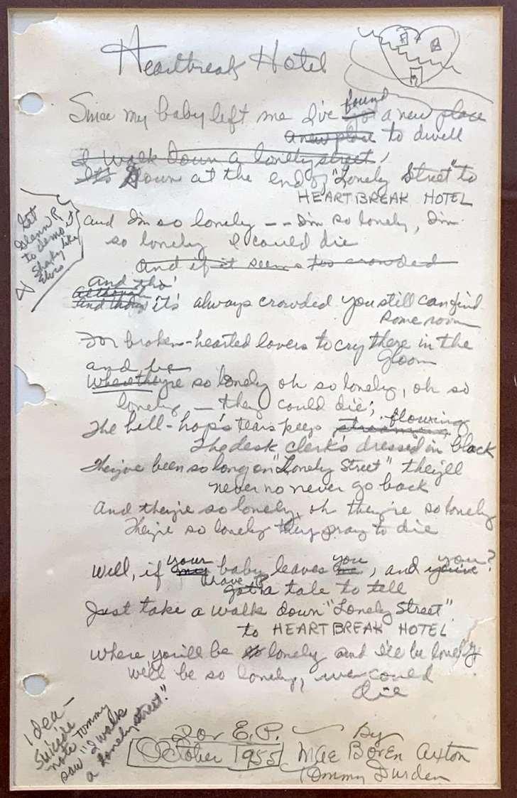 Original handwritten lyrics to Heartbreak Hotel.