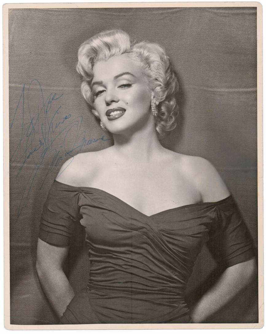 Photograph of Marilyn Monroe signed and inscribed.
