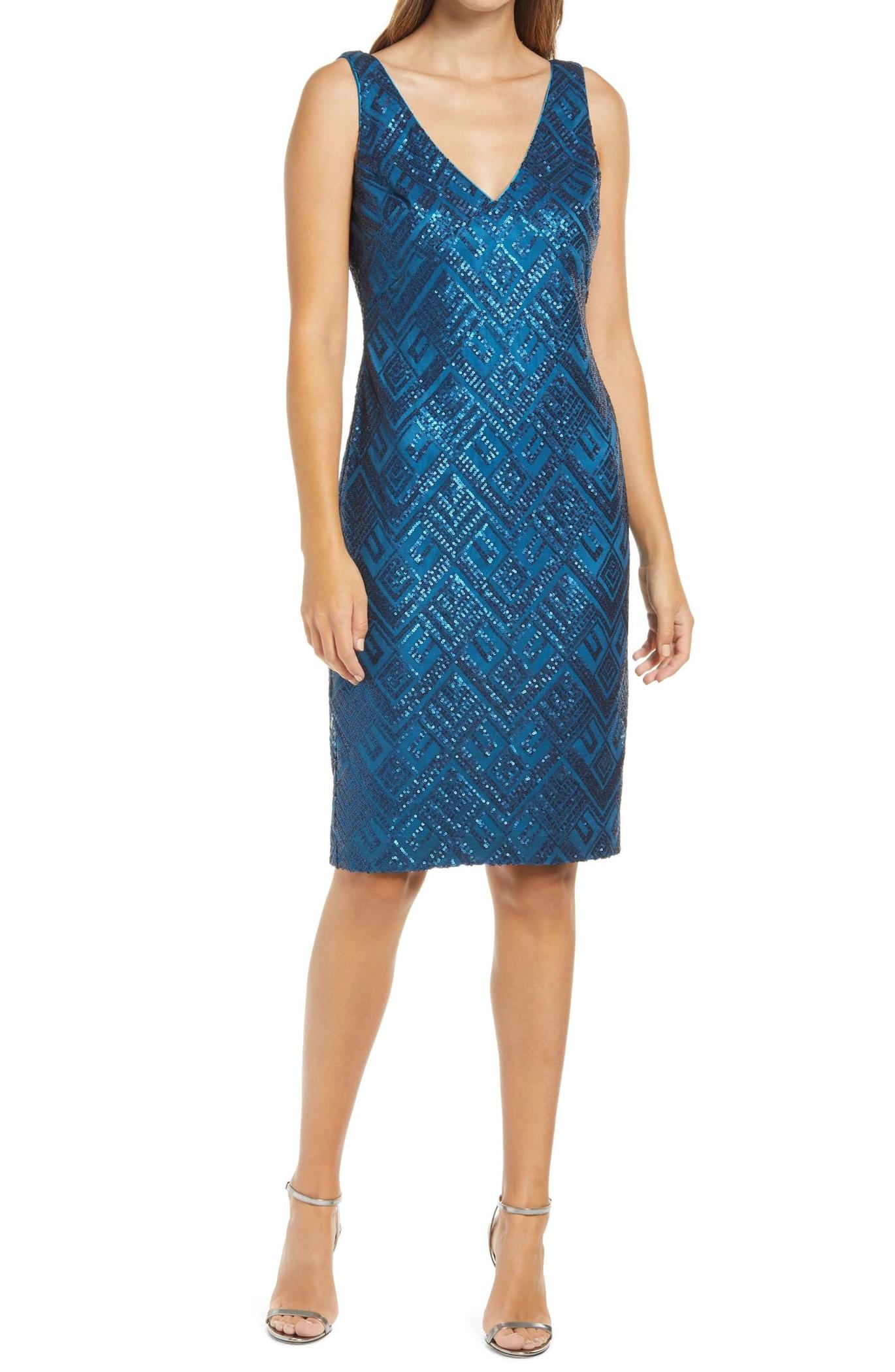 Vince Camuto Sequin Sleeveless Cocktail Dress