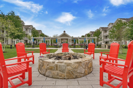 The firepit and amenity space at Nobility Crest.