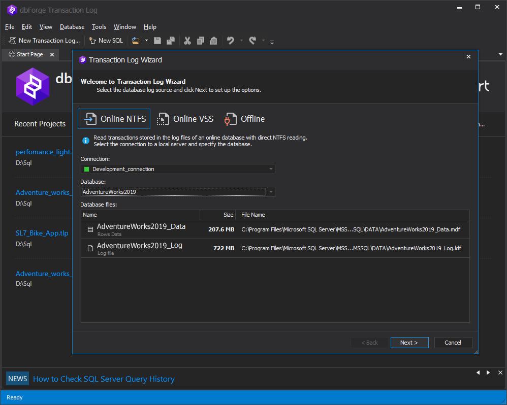 dbForge Transaction Log for SQL Server