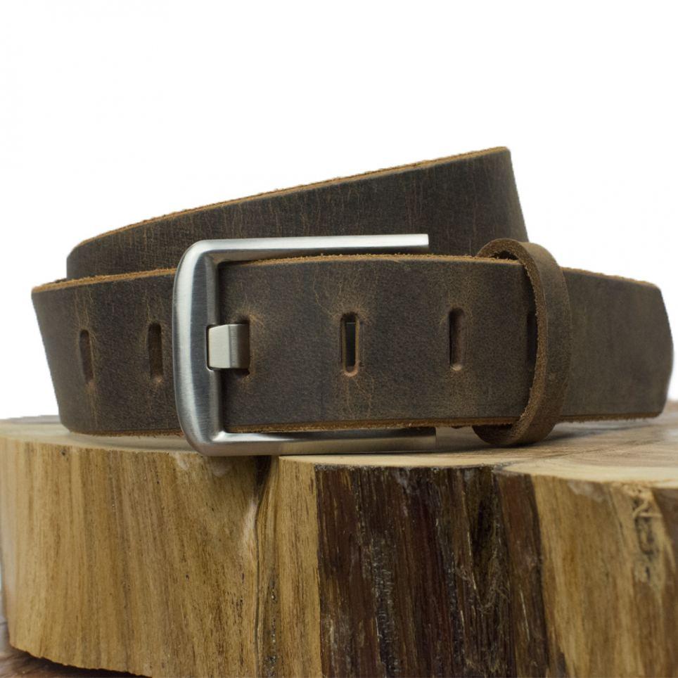 Titanium Wide Pin Distressed Belt Wood Pose 2