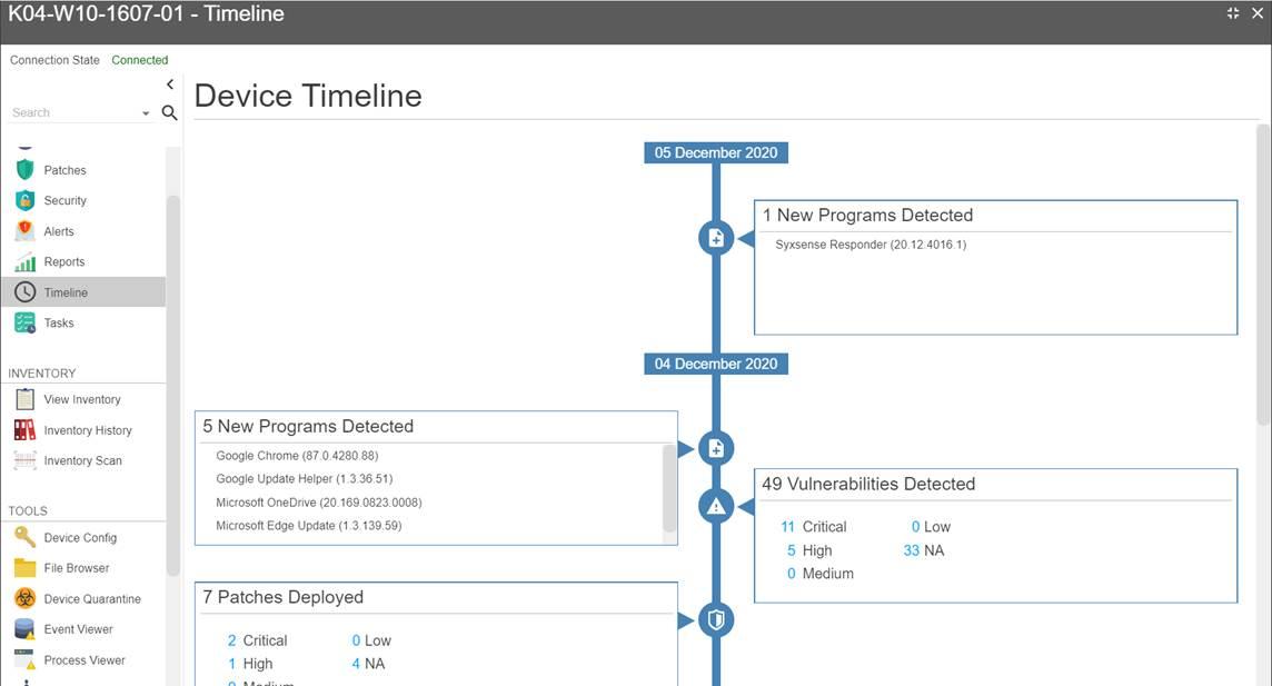Syxsense's Unique Device Timeline Feature