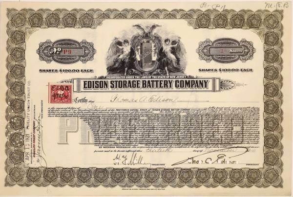Stock certificate for Edison Storage Battery Co.