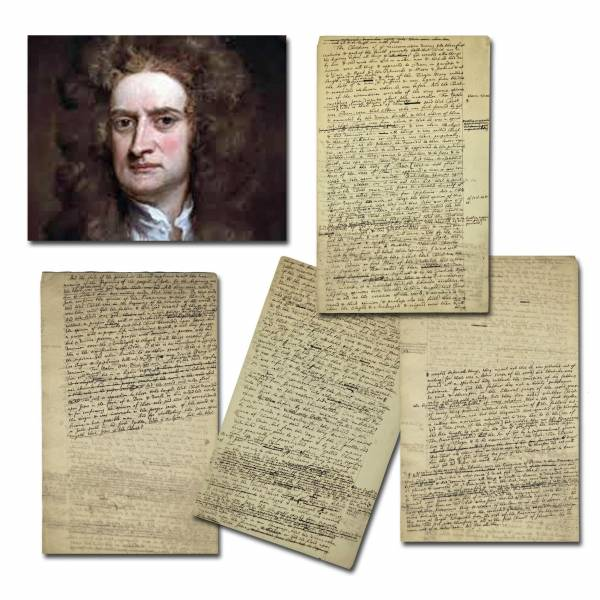 Four-page manuscript by physicist Sir Isaac Newton