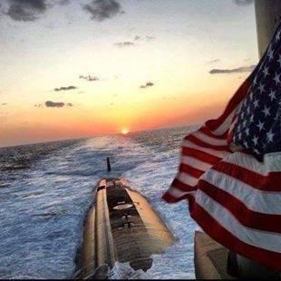 American Flag On Surface Of Nuke Sub