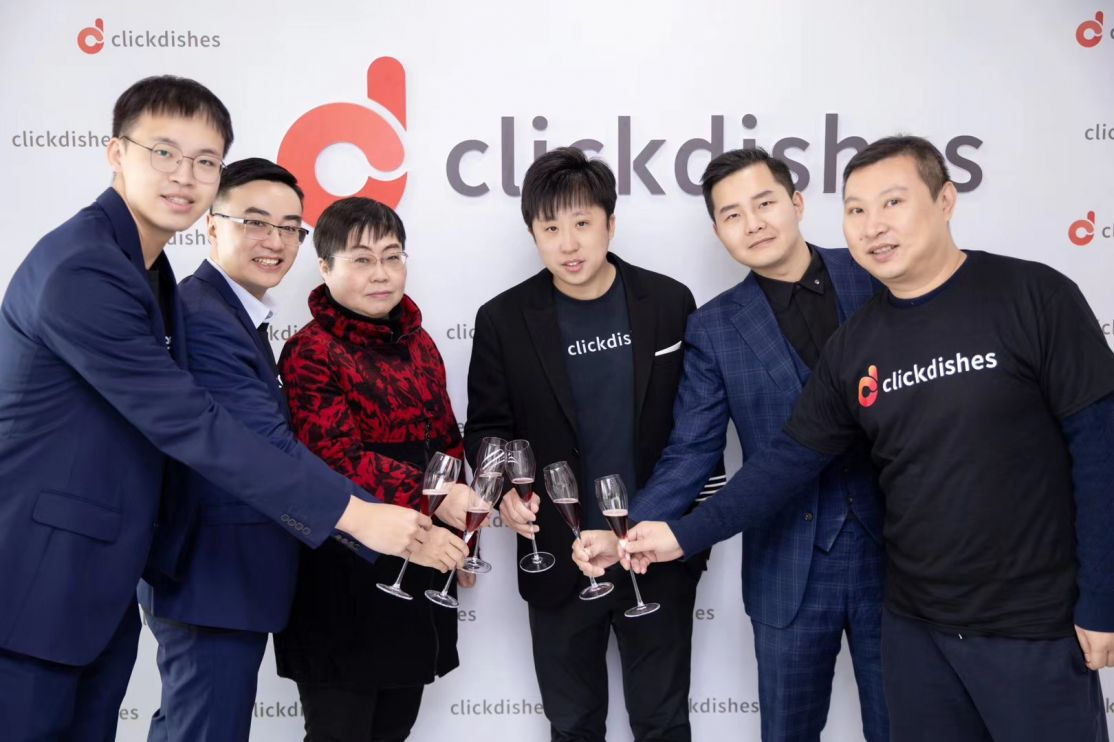 ClickDishes CEO Alec Wang and team in Wuhan, China
