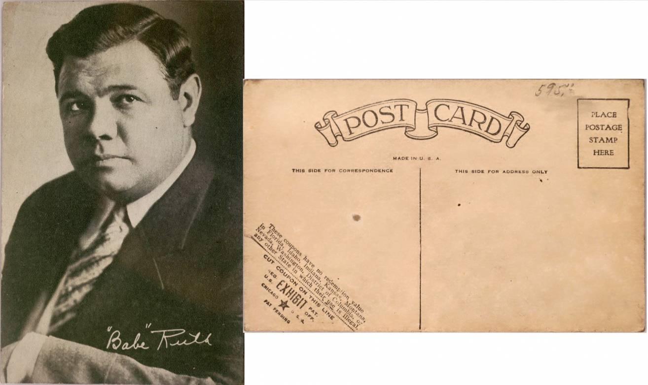 Postcard photograph of baseball legend Babe Ruth.