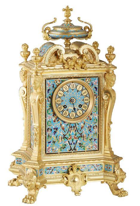 French Louis XV style gilt bronze mantel clock.