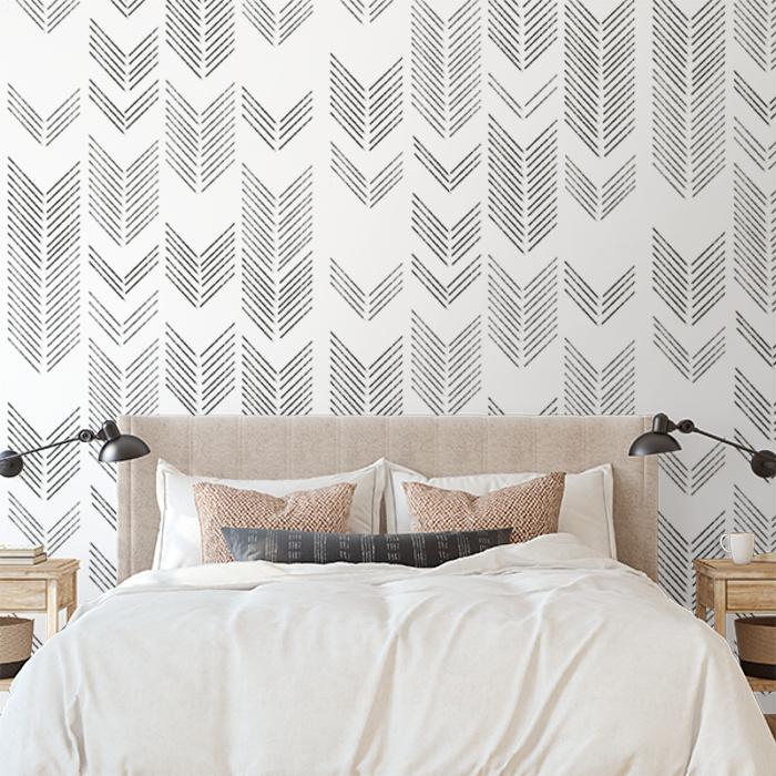 Brushed Chevron Wallpaper Black And White