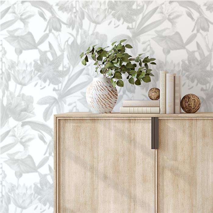 Flora Botanica Wallpaper Grey