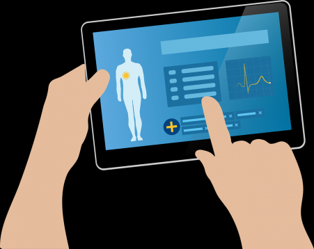 Patient With Tablet Graphic