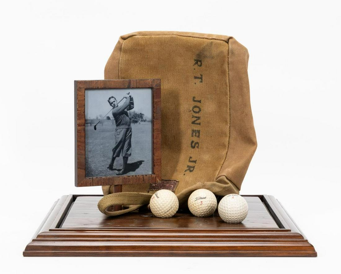 Golf legend Bobby Jones' personal shag/range bag