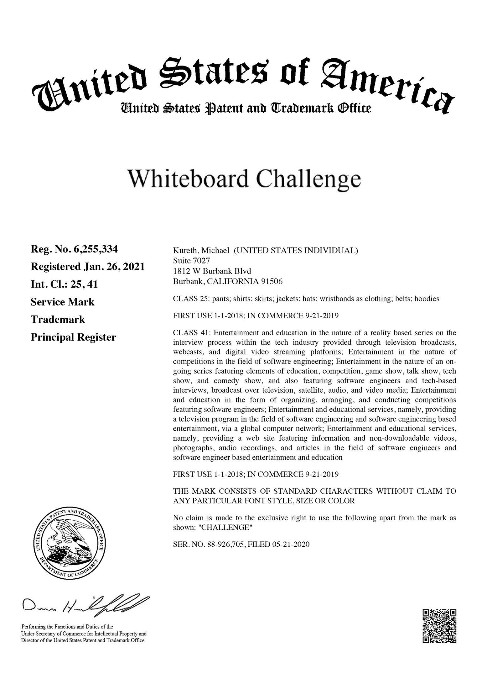Whiteboard Challenge - Michael Kureth - Trademark