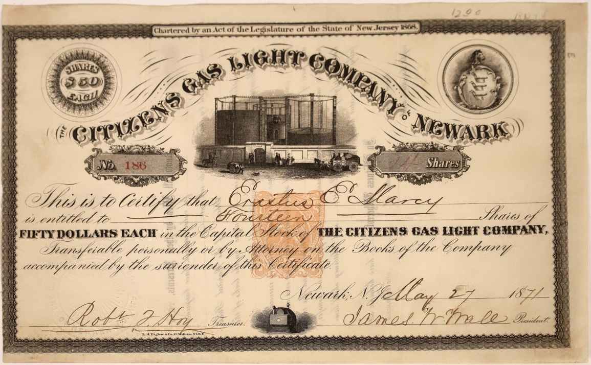 1871 stock certificate for Citizens Gas Light Co.