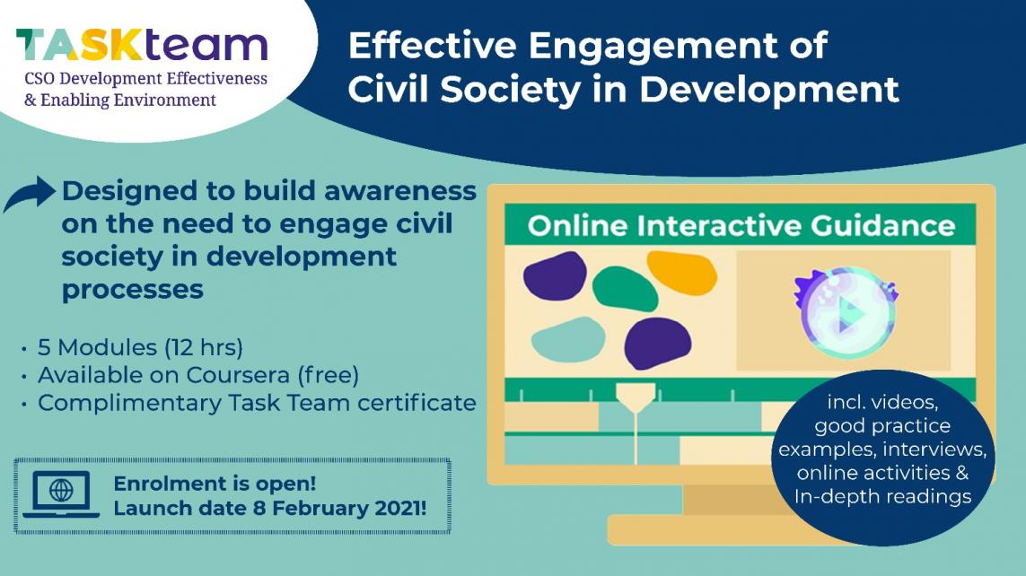 Task Team holds online course on engaging CSOs.