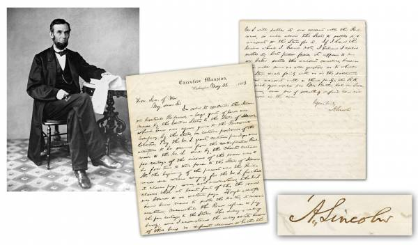 Letter handwritten and signed by Abraham Lincoln