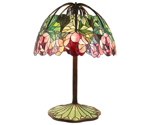 Cast bronze and lead glass lotus table lamp.