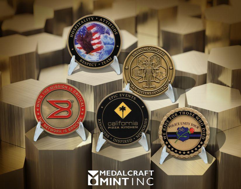 Custom brass coins from Medalcraft Mint
