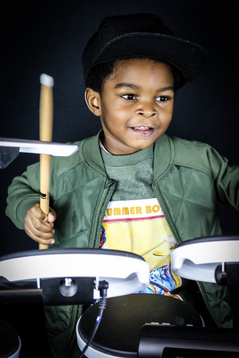 Drum student Tyree prepares for the concert