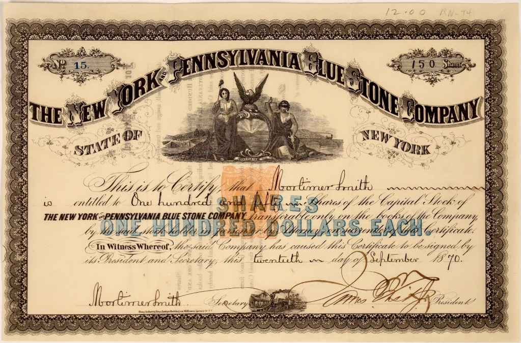 1870 stock certificate signed by James Fisk.