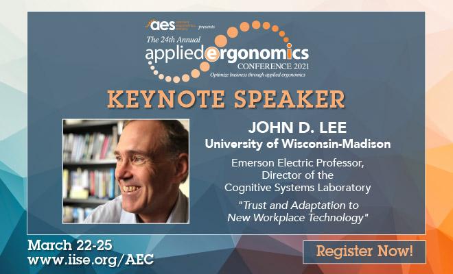 #AppliedErgo2021 keynote John D. Lee, Ph.D.