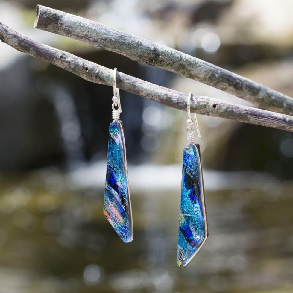 Dichroic Glass Blue Dangle