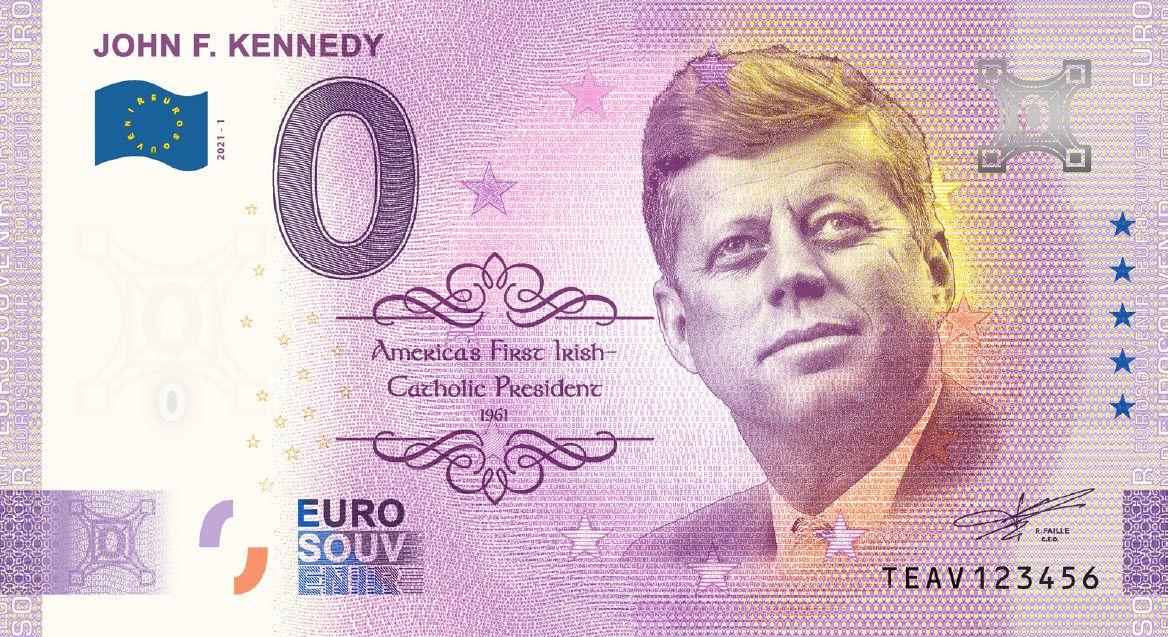 John F. Kennedy commemorative 0 Euro bill