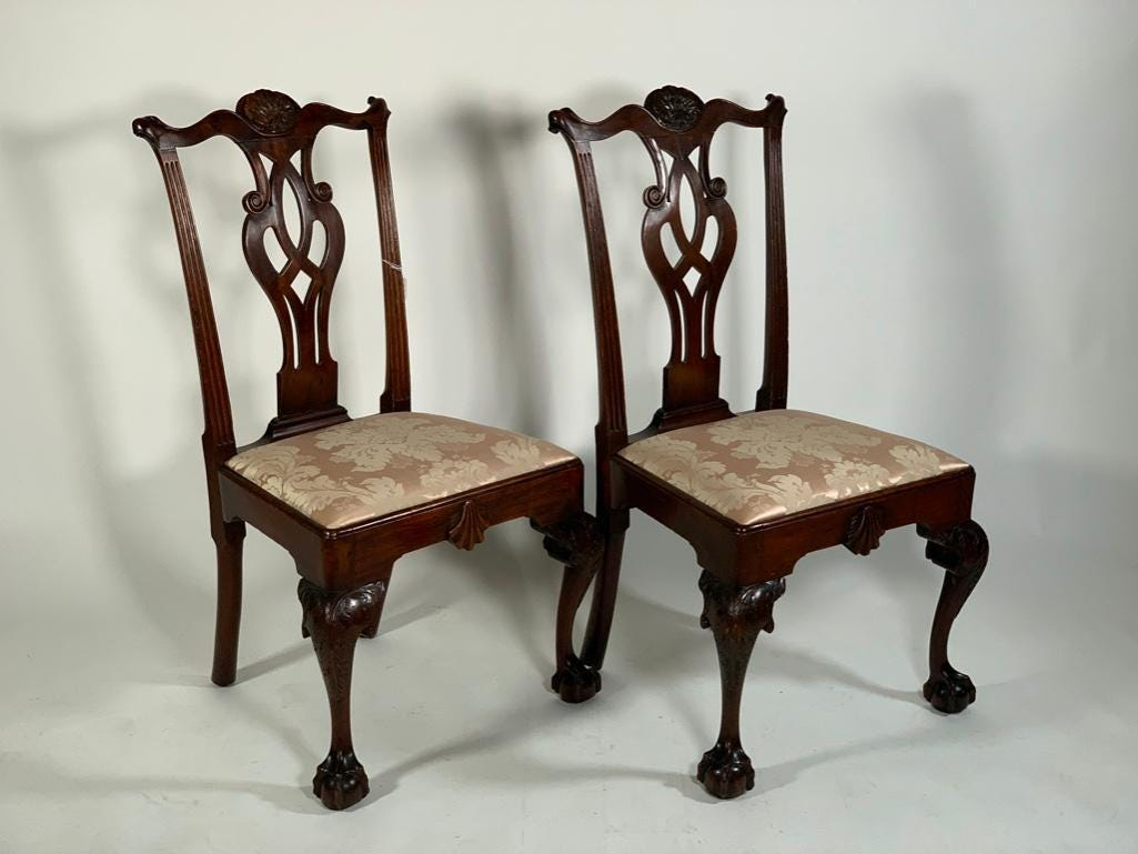 The chairs were made in Philadelphia in the 1700s.