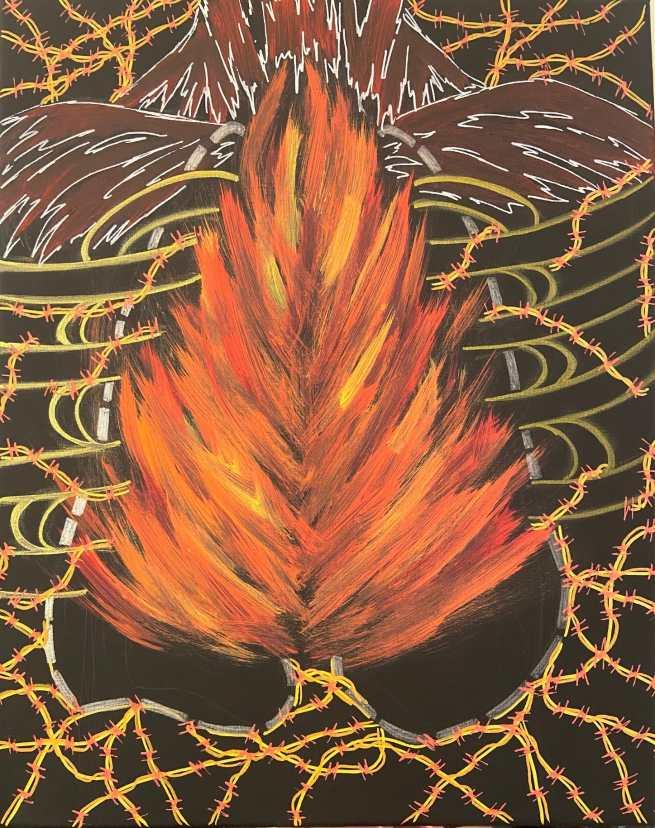 Maia Monteagudo, Panic Attack, Acrylic Paint, Pen