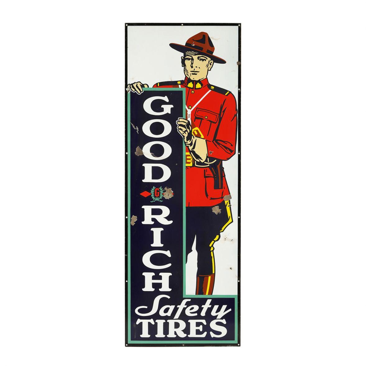 Canadian 1930s Goodrich Tires porcelain sign.