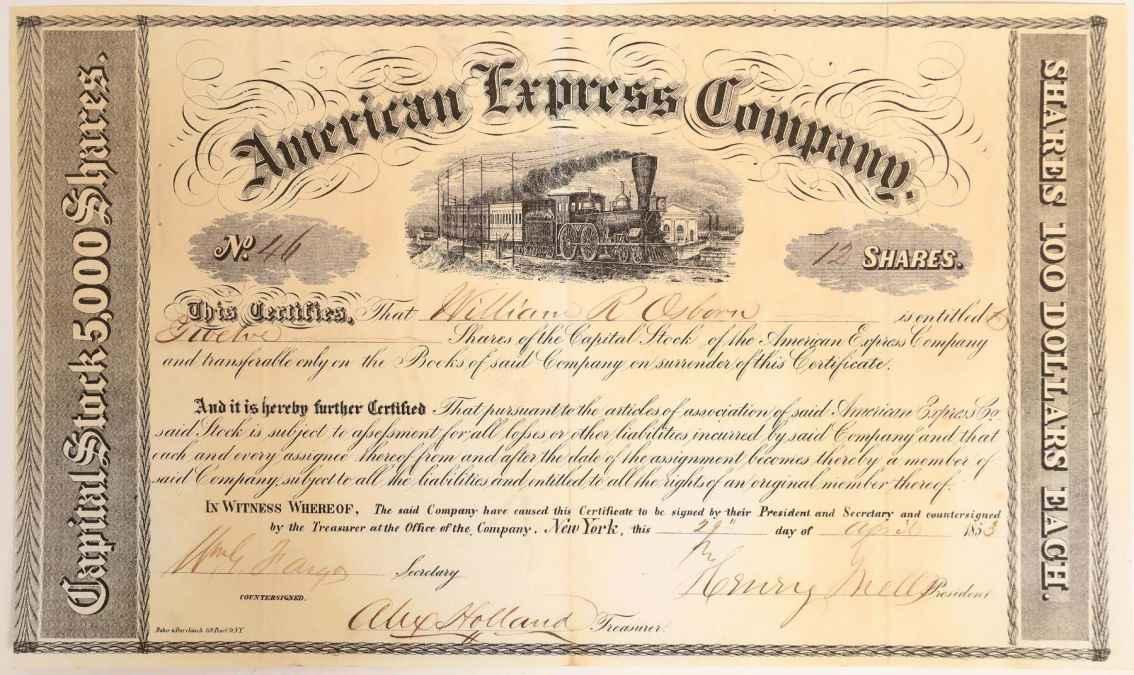 Earliest known American Express certificate (#46)