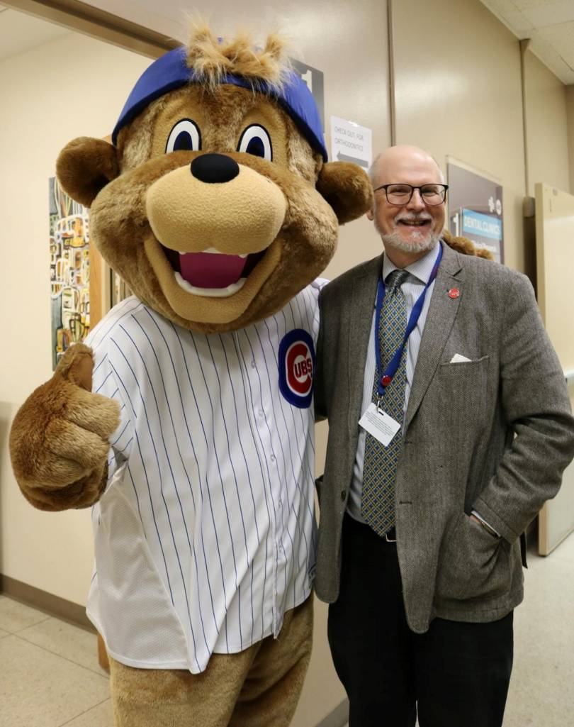 William S. Bike with Clark, Chicago Cubs mascot