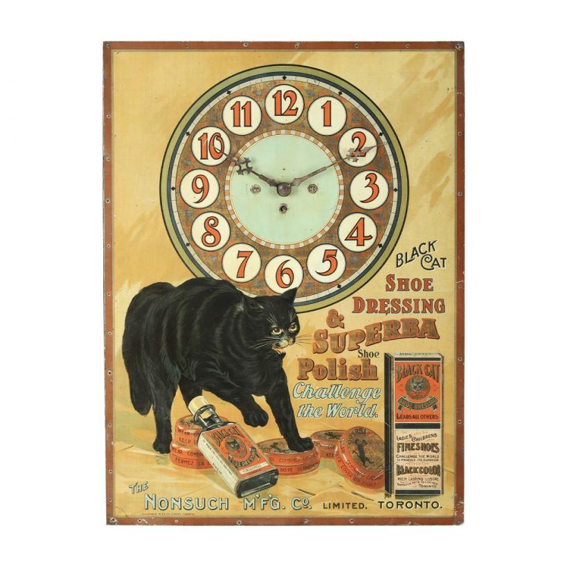 Important Canadian Black Cat Shoe Polish clock.