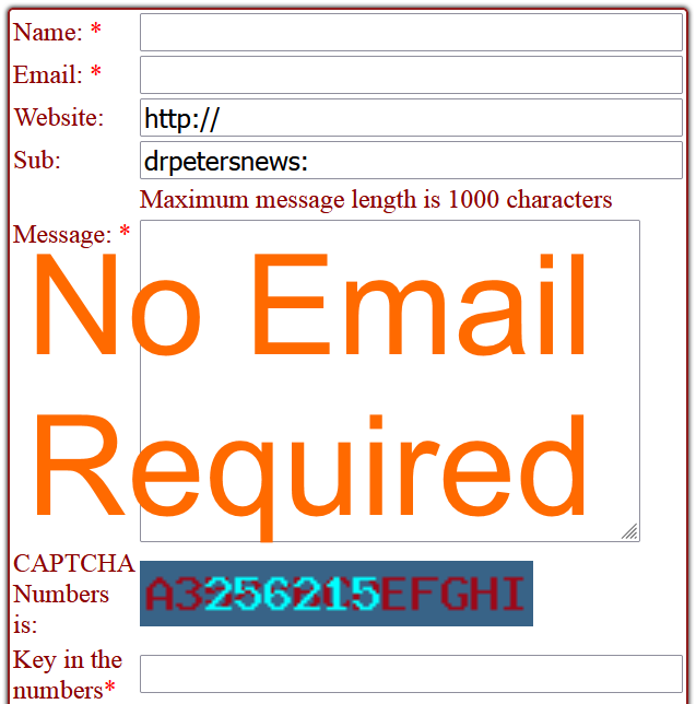 No Email Contact Us Form