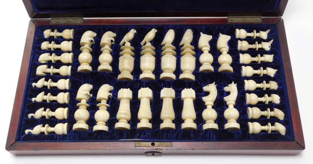 Hand-carved Alaskan Inuit walrus ivory chess set.
