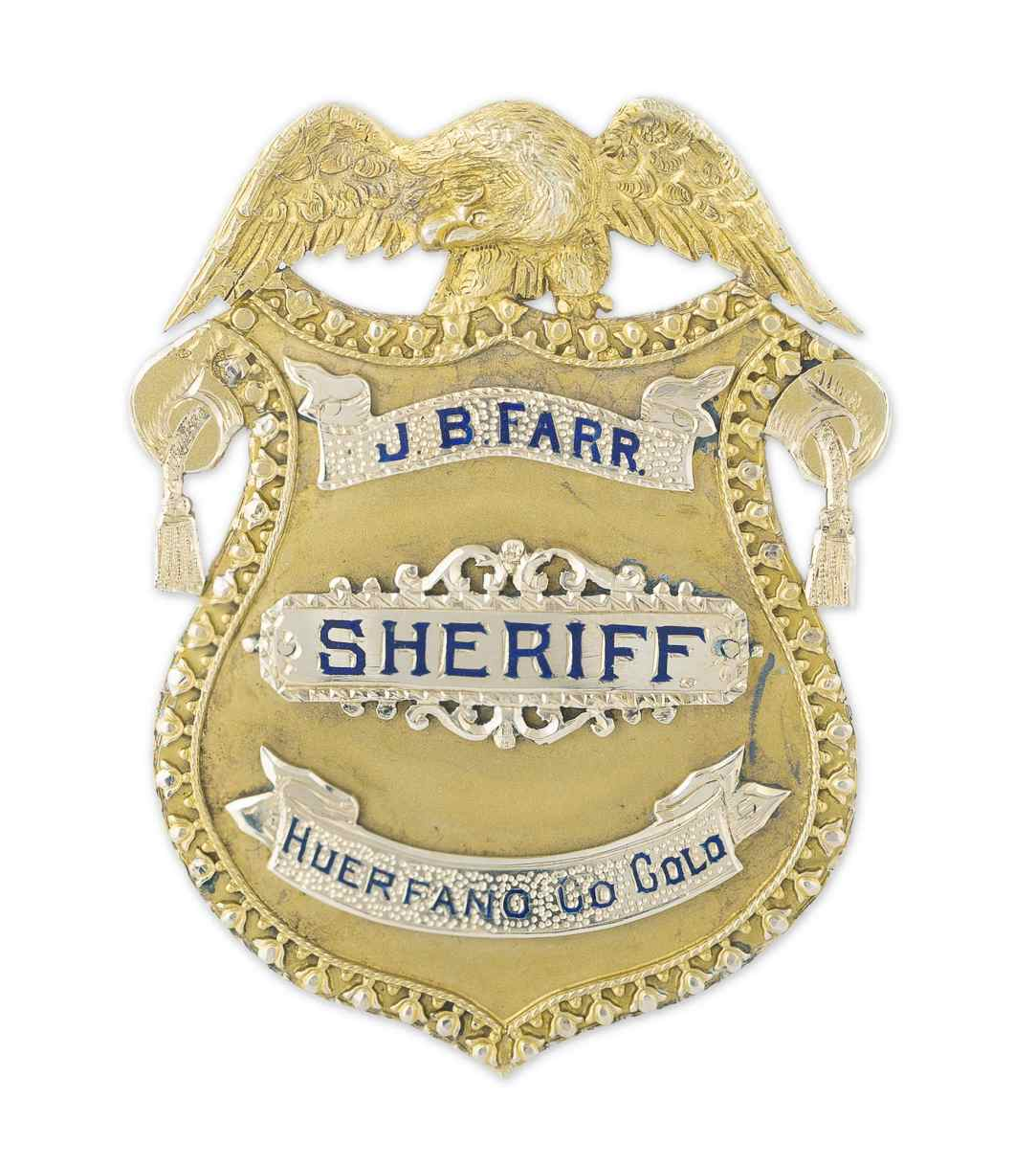 J.B. Farr early 1900s 14kt gold sheriff's badge.