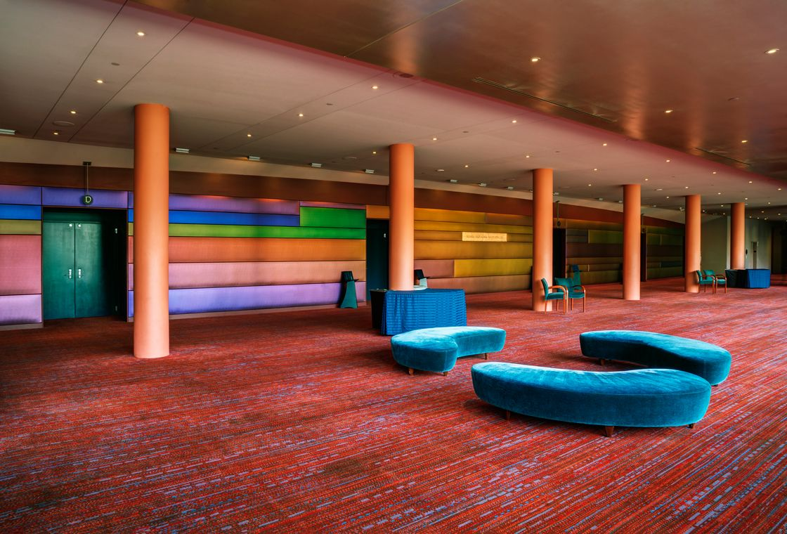 A Large Open Space In A Hospitality Or Business Is