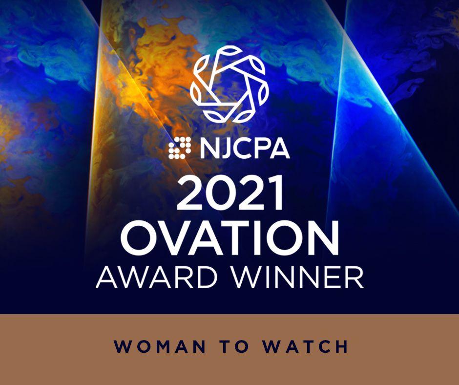 Ashley Ackerman receives NJCPA 2021 Ovation Award.