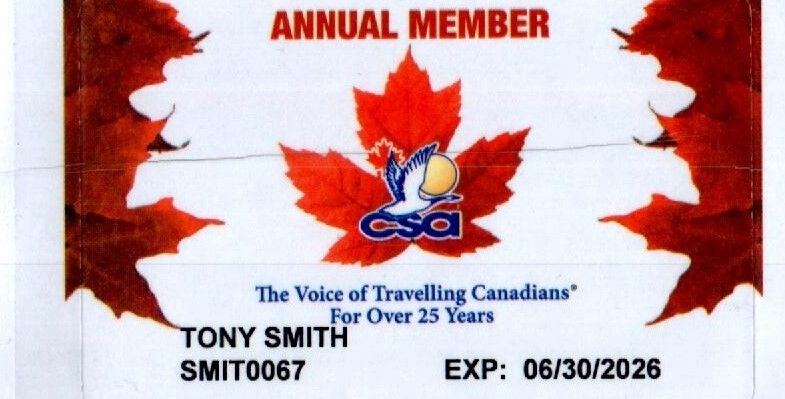 Canadian Snowbird Association Member 0001