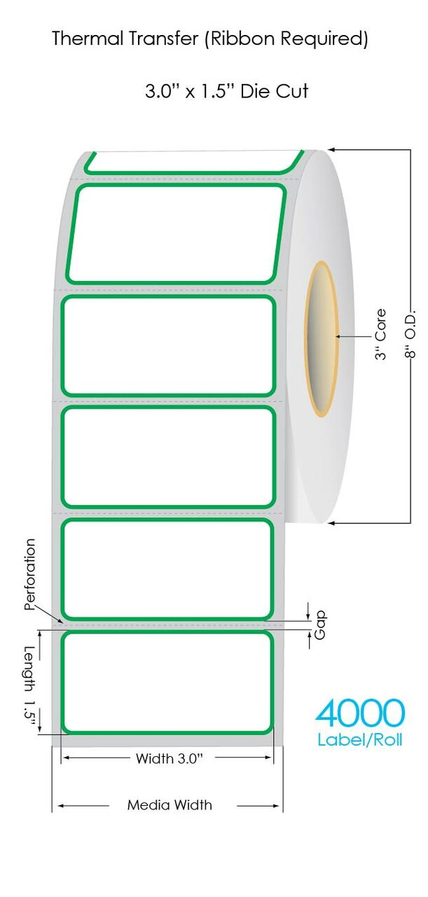 """3x1.5"""" white thermal transfer label with green"""